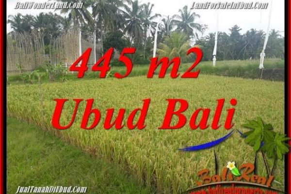 JUAL Murah Tanah di Ubud Bali 445 m2  View sawah, lingkungan Villa
