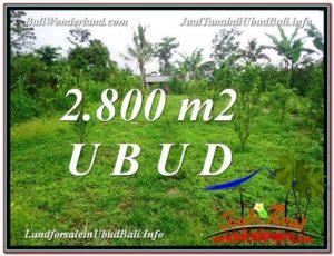 JUAL TANAH MURAH di UBUD BALI 2,800 m2 View kebun