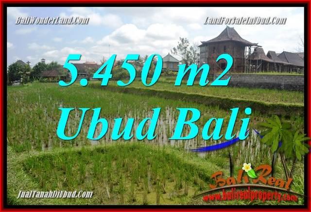 JUAL Murah Tanah di Ubud 5,450 m2  View sawah, lingkungan Villa